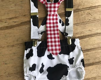 Farm cow cake smash outfit