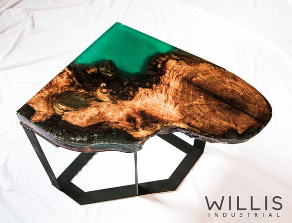 Live Edge Mesquite Table With Open Ended Epoxy Steel Base