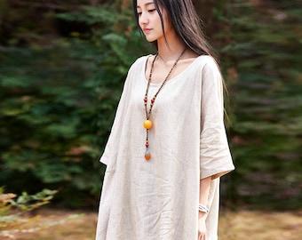 Women cotton and linen T-shirt – Original Summer Extra Loose Retro Art T-shirt