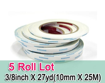 Sookwang Double Sided Adhesive Tape : 5 Roll Lot 3/8 inch x 27 yards (10mm X 25M) Double-sided Tape