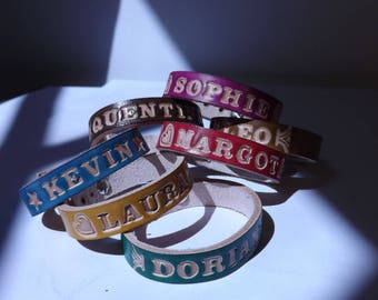 Personalized leather name bracelet