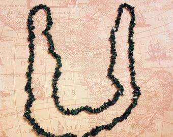 "Vintage Genuine Malachite chip Beaded long necklace,41"" neckline by 1/4"" wide,dark green gemstone,stone,Indian,Native American"