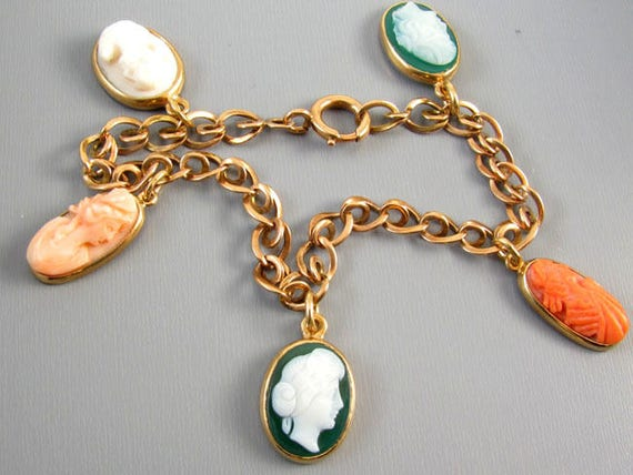 Antique Victorian 14k rose pink gold cameo hardstone sardonyx and coral charm bracelet