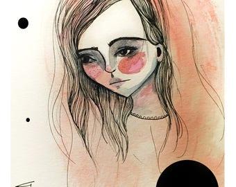 5x7 Fine Art Print - 'Lady' - Small sized giclee art print - Black and white and Pink Portrait illustration - Polka Dots - Jessica von Braun