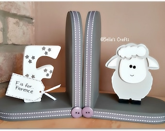 Personalised Sheep Bookends for Children, Nursery Decor, Lamb bookends, Farm Animals, Bookends for kids.