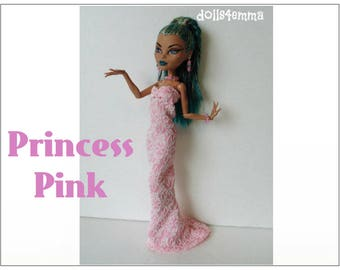 Monster High Nefera Doll Clothes PRINCESS PINK Gown and Jewelry Handmade Fashion - by dolls4emma