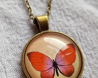 Pink Butterfly Necklace/Butterfly Pendant/Butterfly Lover/Bronze Tone Jewelry