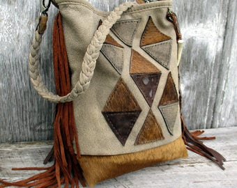Geometric Leather Small Bucket Shoulder Bag with Fringe in Hair on and Acid Washed Cowhide and Taupe Stone Washed Leather by Stacy Leigh