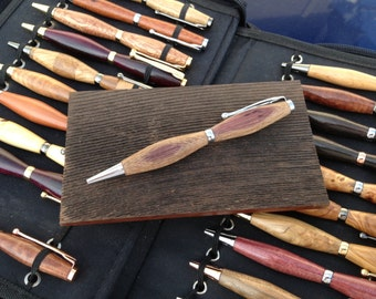 Wine Cask Pens -  Custom Built Wooden Rollerball Slim Twist Pens Made From Real Wine Casks