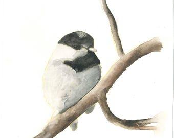 """Chickadee Perch Watercolor  Print 8x8"""""""