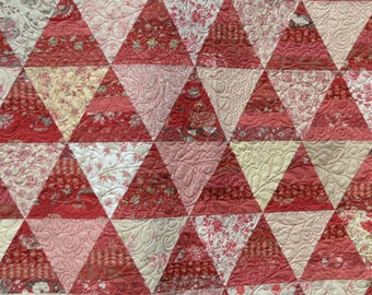 Queen Quilt, King Coverlet, Bed Quilt, Modern Triangle,  Victorian, Birds Rose Mauve Pink White