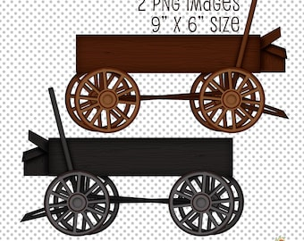 Buckwagon Clip Art, Wagon Clip Art, Western Clip Art, Wood Wagon Clip Art, Digital Scrapbooking Elements, Digital Download Graphics, Clipart