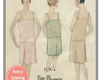 1920s Petti-Bloomer Lingerie Sewing Pattern - PDF  Sewing Pattern - Instant Download