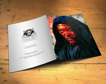 Star Wars Darth Maul Greetings Card - Wall Decor, Inspirational Print, Home Decor, Eco Friendly, Gift, 5x7 inches Art Print