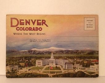 ON SALE Denver Colorado CO Old Vintage 1940's 1950's Linen Souvenir Postcard Booklet Unused Unmailed