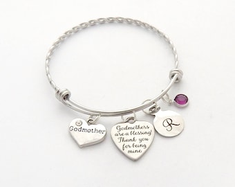 GODMOTHER GIFT, Godmother Bracelet, Gift from Godchild, Gifts for Godmothers, Godmothers are a blessing Thank you Charm, from Goddaughter