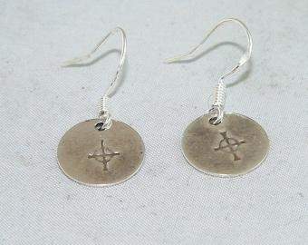 Carolina Sundance  Sterling Silver Stamped Celtic Cross  Disc Earrings
