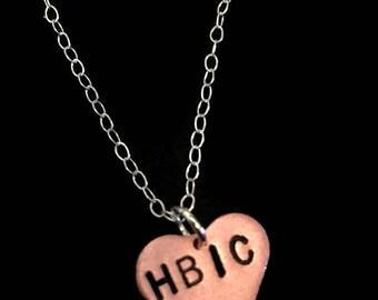 HBIC - Boss Bitch, Boss Lady, Girl Boss, Like a Boss, Copper Heart Necklace, Alfa Female, Queen B, Charm Necklace