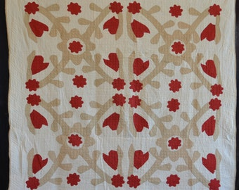 Graphic Folk Art Red and Tan (Fugitive Green) Four Block Quilt