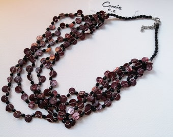 Brownish Red/Violet Shell  & Black Beads Necklace