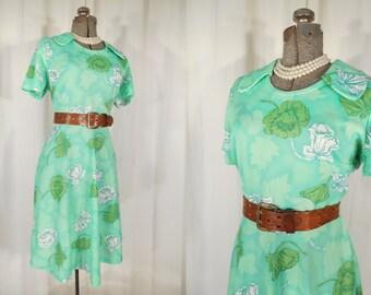 Vintage 1960s Dress - 60s Green White High Waist Floral Dress, Plus Size A Line Dress, 60s Summer Dress XL