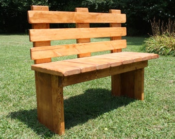 Beautiful American Walnut Stained & Heavily Distressed Solid Wood Bench 16x44x36 Porch Garden Home Custom Made Sizes And Colors Available