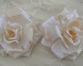 2pc Ivory Victorian Satin Rose Flower Hat Corsage Hair accessory