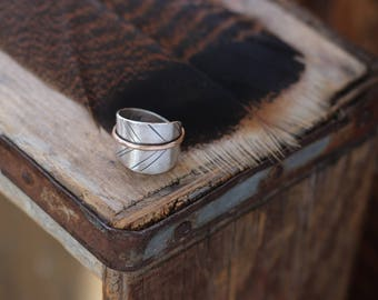 Free Spirit or your personalized custom message  ~ silver & bronze mixed metal leaf band ring, sizes 5-8.5, Made to order