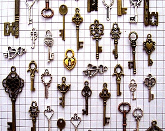 43 Bulk Lot Steampunk Skeleton Keys Brass Charms Jewelry Gothic Wedding Beads Pendant Collection Reproduction Vintage Antique Look Craft