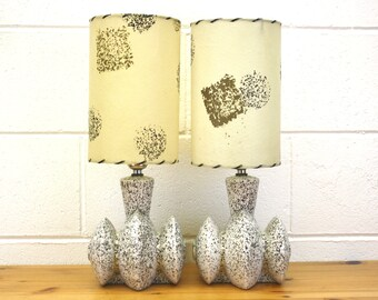 Vintage Atomic Splatter Glazed Ceramic Bedside Lamps with Shades, Set of 2 (E8337)