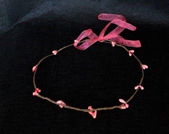 Pink flower crown, Rustic hair crown, Bridal headpiece, Bridesmaid crown, Nautical hairpiece, Flower girl crown, Boho halo, Berry hair crown