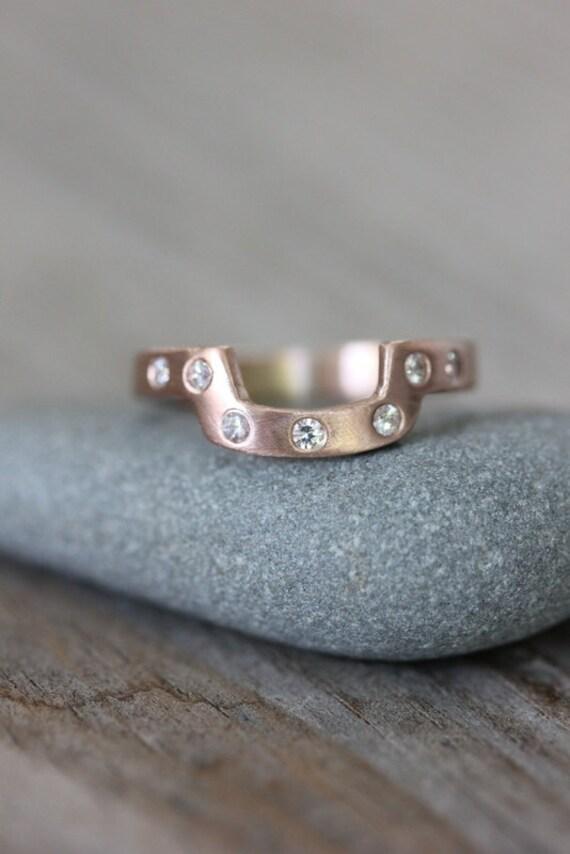Aquamarine Rose Gold Engagement Ring Wedding Set 14k Cushion Cut And White Sapphire Band Eco Friendly