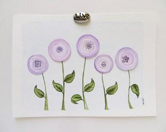 Watercolor flowers, watercolor painting, abstract flower,original painting, lavender flowers, abstract painting, nursery art, pretty flowers