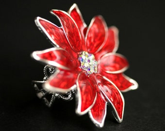 Poinsettia Flower Ring. Christmas Ring. Rhinestone and Resin Poinsettia Ring. Silver Plated Adjustable Ring. Christmas Jewelry.
