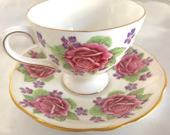 Vintage Gladstone England Roses and Violets Bone China Tea Cup and Saucer