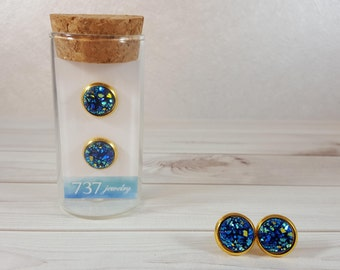 Metallic Blue Druzy Earrings, Metallic Blue Stud Earrings, Druzy Stud Earrings, Metallic Blue Faux Druzy Earrings, 10mm Silver Druzy Stud