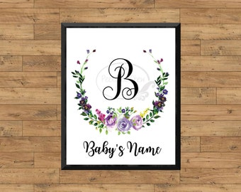Editable Baby Name Wall Art Floral Wreath Personalized Baby Nursery Print Digital Printable Art Baby Initial Monogram Baby Name PCFWNP