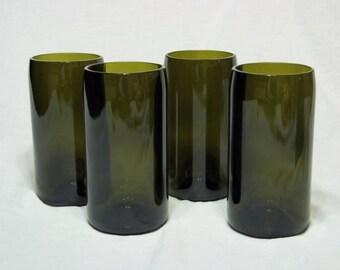Set of 4 Green Wine Bottle Glasses