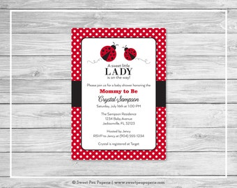 Ladybug Baby Shower Invitation - Printable Baby Shower Invitation - Ladybug Baby Shower - Baby Shower Invitations - Ladybug Shower - SP140