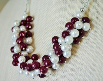 Maroon and White Cluster Necklace - Sport Colors Necklace