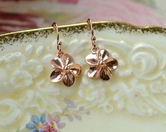 Rose Gold Earrings Flower Earrings, Dainty Rose Gold Vermeil Earrings, Gift Mom, Rose Gold Jewelry, Rose Gold Drop Earrings, Dangle Earrings