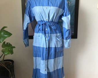 Vintage Marimekko Dress / Size Medium - 42 - 14 / 1970 Finland / Blue & Light Blue blocks stripes