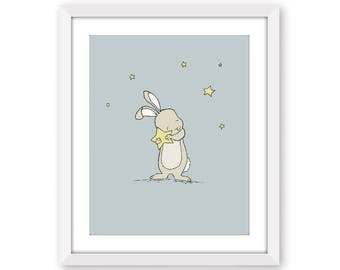 Bunny Nursery Art, Bunny Holds Star, Catch A Falling Star, Bunny Art, Woodland Nursery, Children Art, Kids Wall Art, Bunny Nursery Art