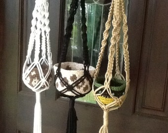Small Macrame Plant Hangers, 4 mm Polyolefin cord, choice of black, jute or white or buy the set of three MS4tr