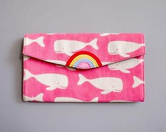 Rainbow Wallet, Whale Print Wallet, Wallet with Coin Pouch, Ladies Long Wallet, Wallet Purse, Vegan Wallet Women, Clutch Wallet, PINK Wallet