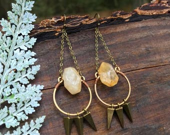 Earrings - Sunburst Citrine