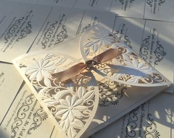 Luxury golden laser cut personalised wedding invitation 3695