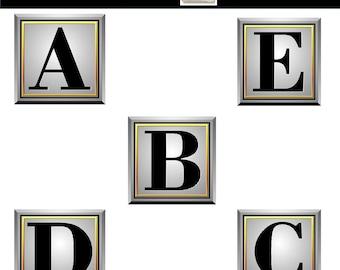 Metal Alphabet Clip Art - Silver, Gold, Metal Letters Digital Alphabet Clipart - Commercial Use - Instant Download
