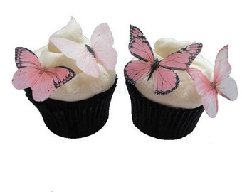 24 Edible Butterflies - Light Pink - Edible Butterfly Cupcake Toppers - Cake Decorations