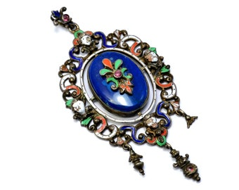 Antique Renaissance Revival large Germany sterling silver hallmarked enamel paste blue glass pendant